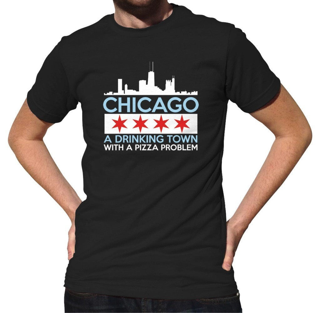 Men's Chicago A Drinking Town With A Pizza Problem T-Shirt