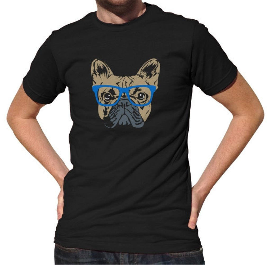 Men's Glasses On A French Bulldog T-Shirt Hipster Frenchie T-Shirt