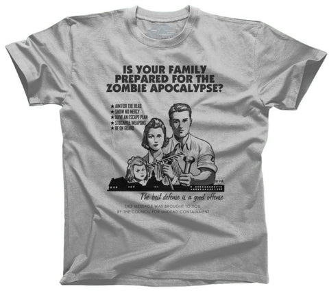 Men's Prepare For Zombies Retro Style T-Shirt