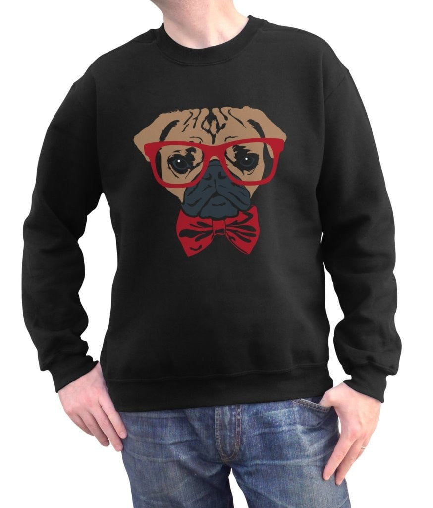48ad320a1 Unisex Bowtie And Glasses On A Pug Sweatshirt Hipster Pug Sweatshirt ...