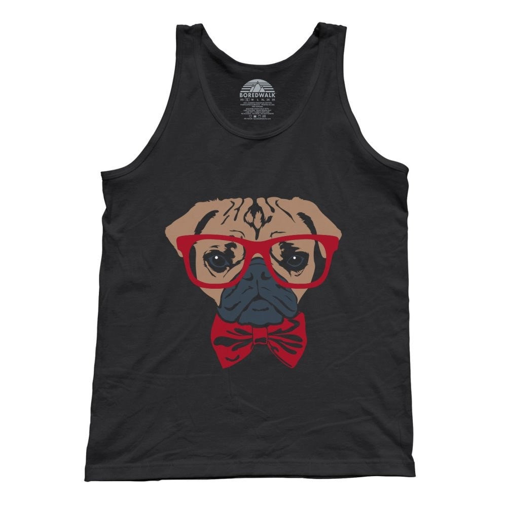 3bee212f5 Unisex Bowtie And Glasses On A Pug Tank Top Hipster Pug Tank Top ...