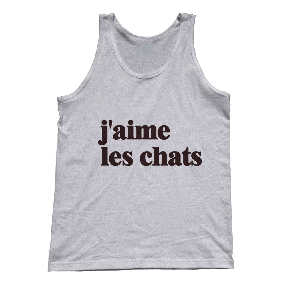 Unisex J'aime Les Chats Tank Top French I Love Cats Tank Top