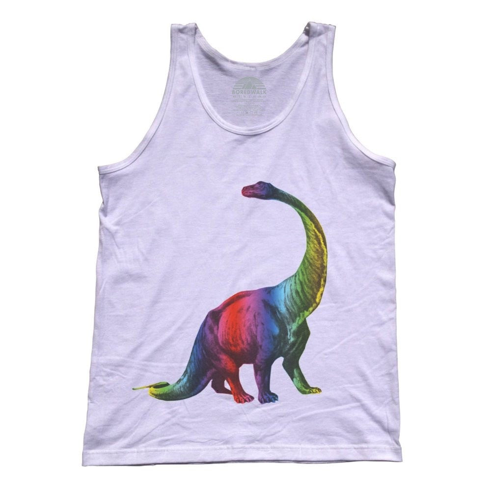 Unisex Pop Art Dinosaur Rainbow Dinosaur Tank Top Paleontology Shirt