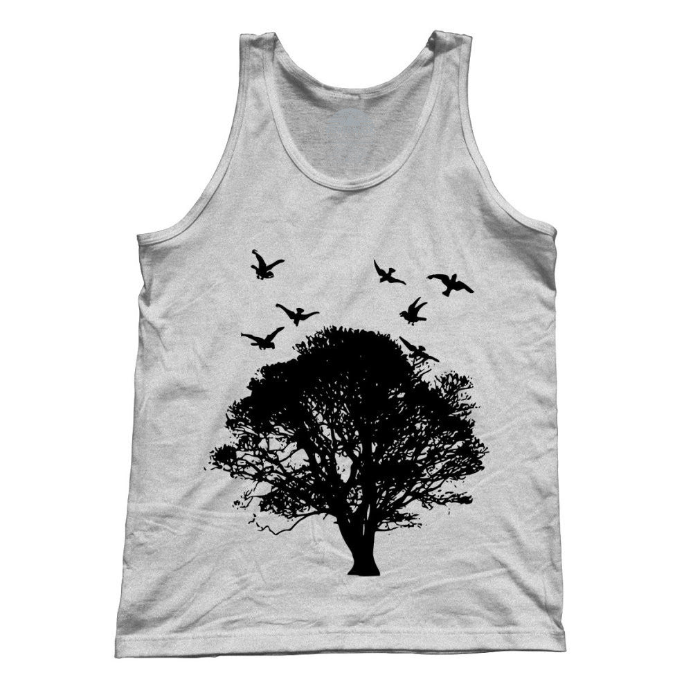 Unisex Tree And Birds Tank Top