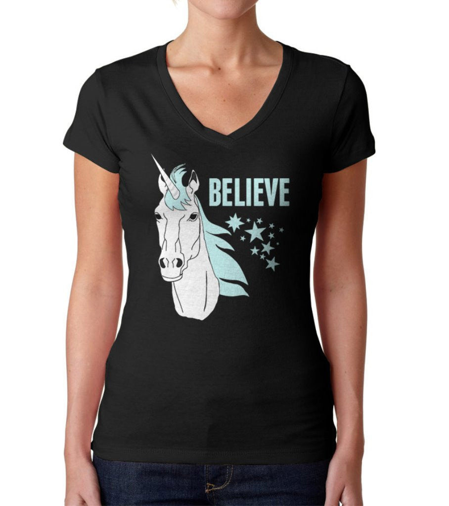 Women's Believe In Unicorns Vneck T-Shirt