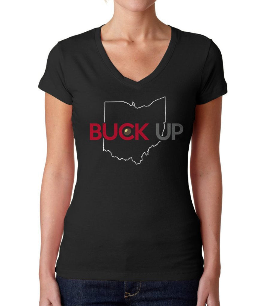 Women's Buck Up Ohio Vneck T-Shirt