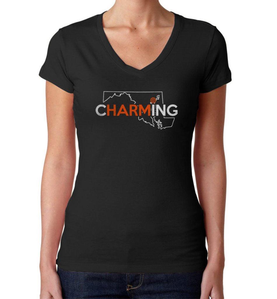 Women's Charm City Baltimore Vneck T-Shirt