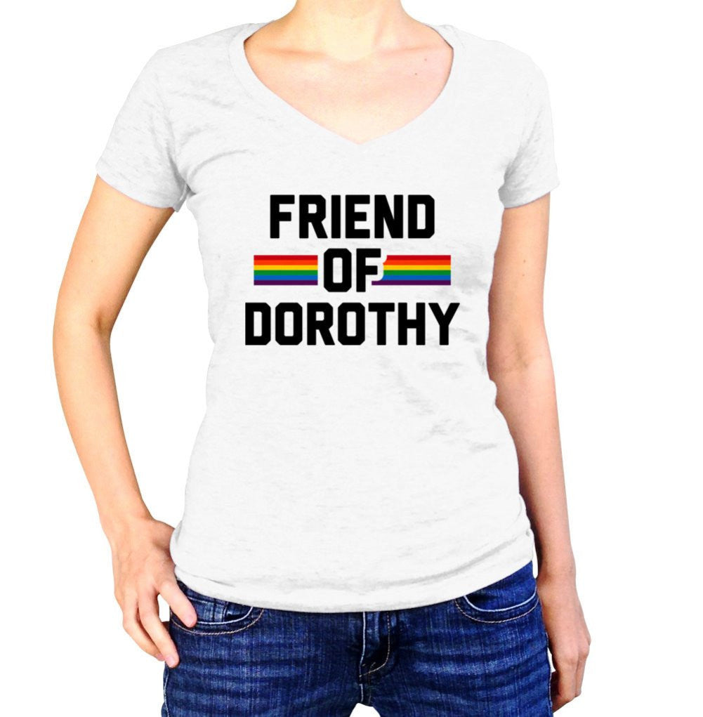 Women's Friend Of Dorothy Gay Pride Vneck T-Shirt