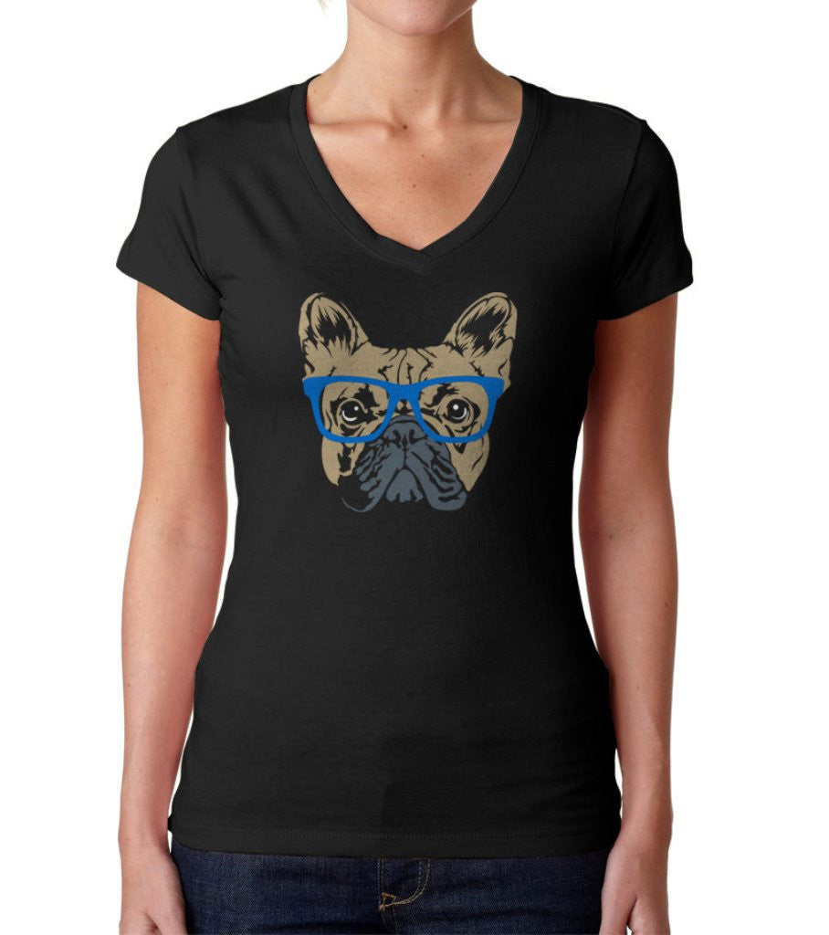 Women's Glasses On A French Bulldog Vneck Hipster Frenchie T-Shirt