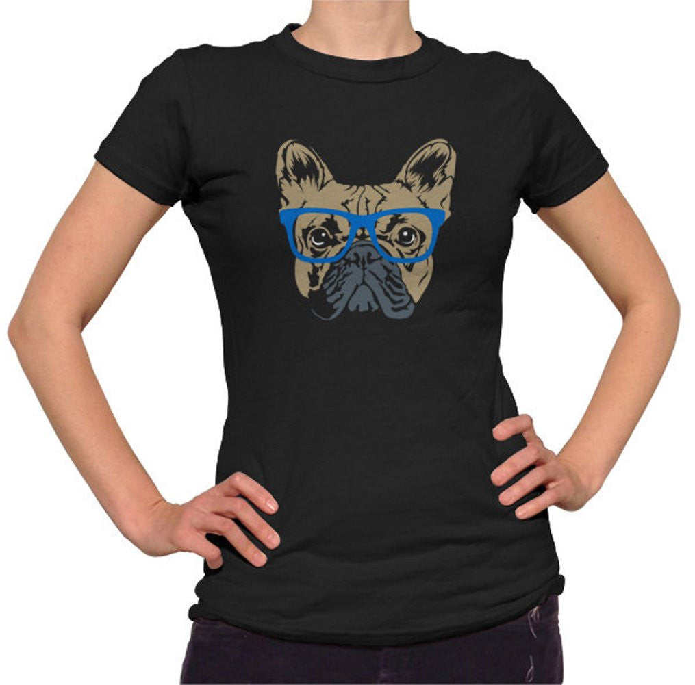 Women's Glasses On A French Bulldog Hipster Frenchie T-Shirt