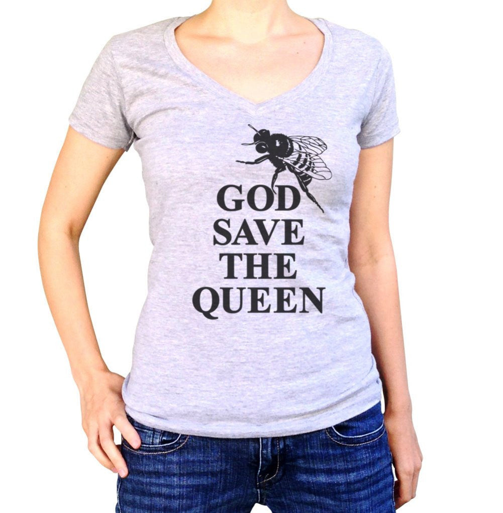 Women's God Save The Queen Bee Vneck Save The Bees Bee T-Shirt