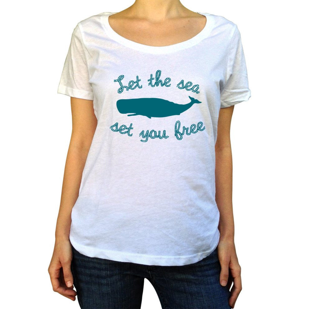 Women's Let The Sea Set You Free Scoop Neck Whale Shirt