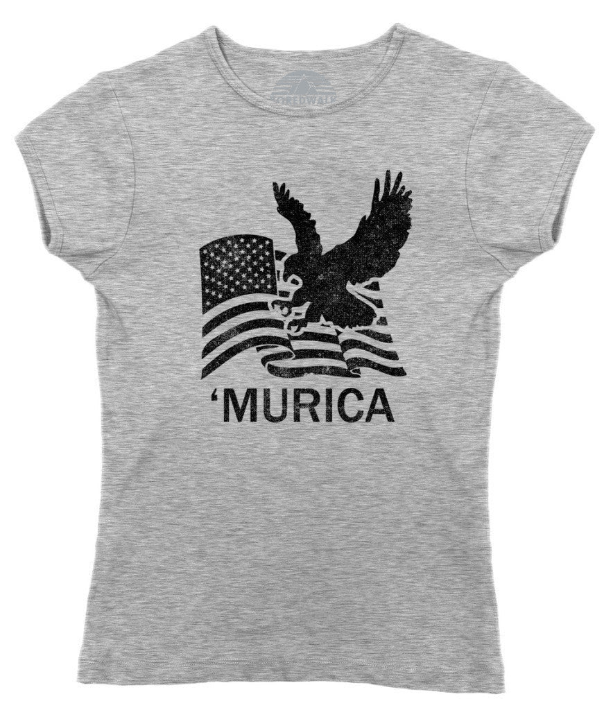 Women's Murica Eagle With Us Flag T-Shirt