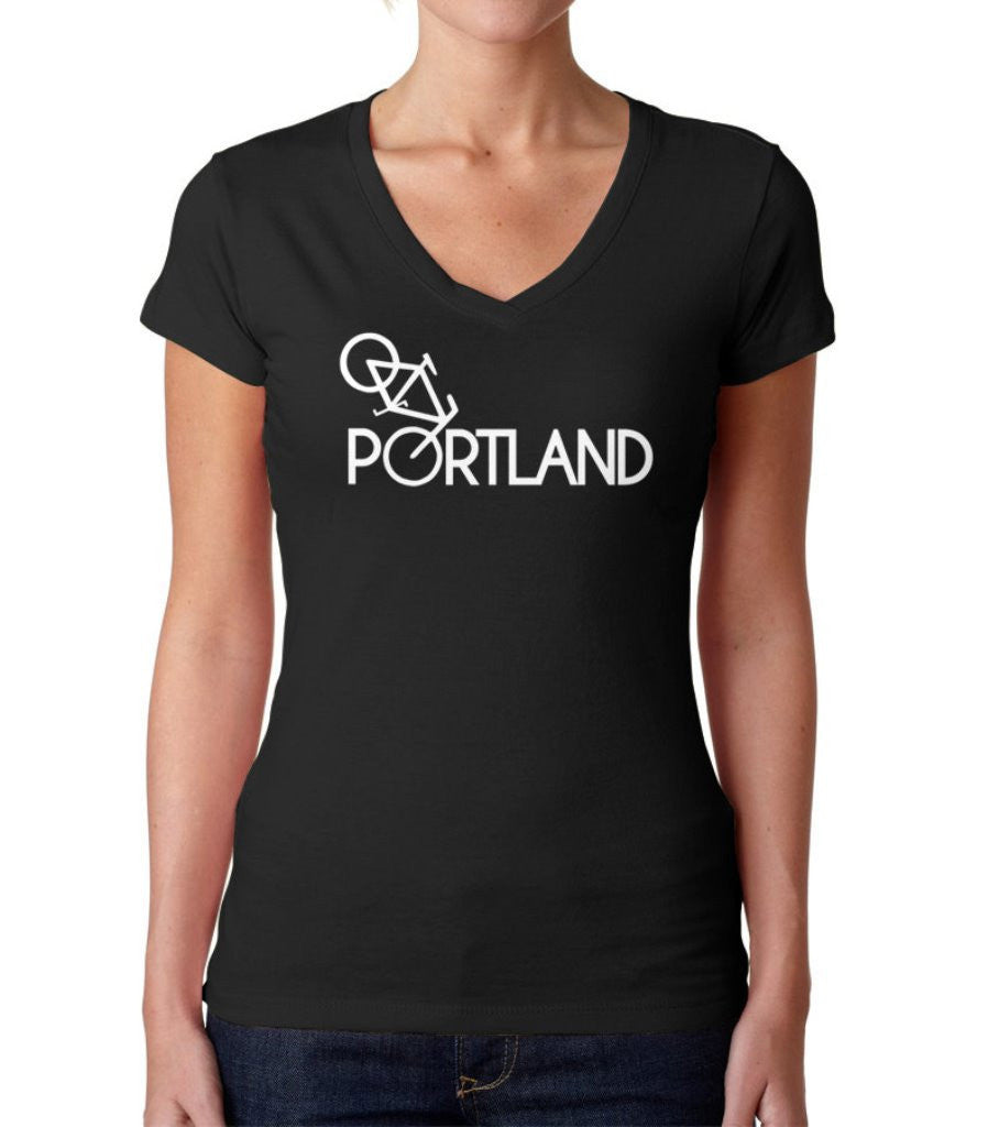 Women's Portland Bike Vneck T-Shirt