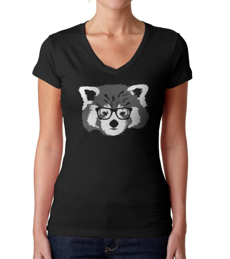 Women's Red Panda With Glasses Vneck T-Shirt