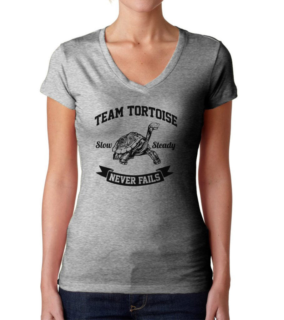 Women's Slow And Steady Tortoise Vneck T-Shirt