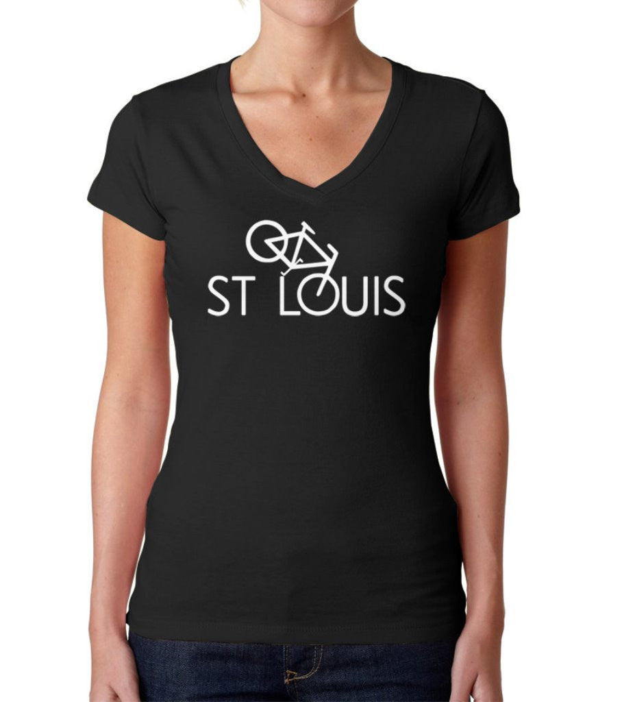 Women's St Louis Bike Vneck T-Shirt