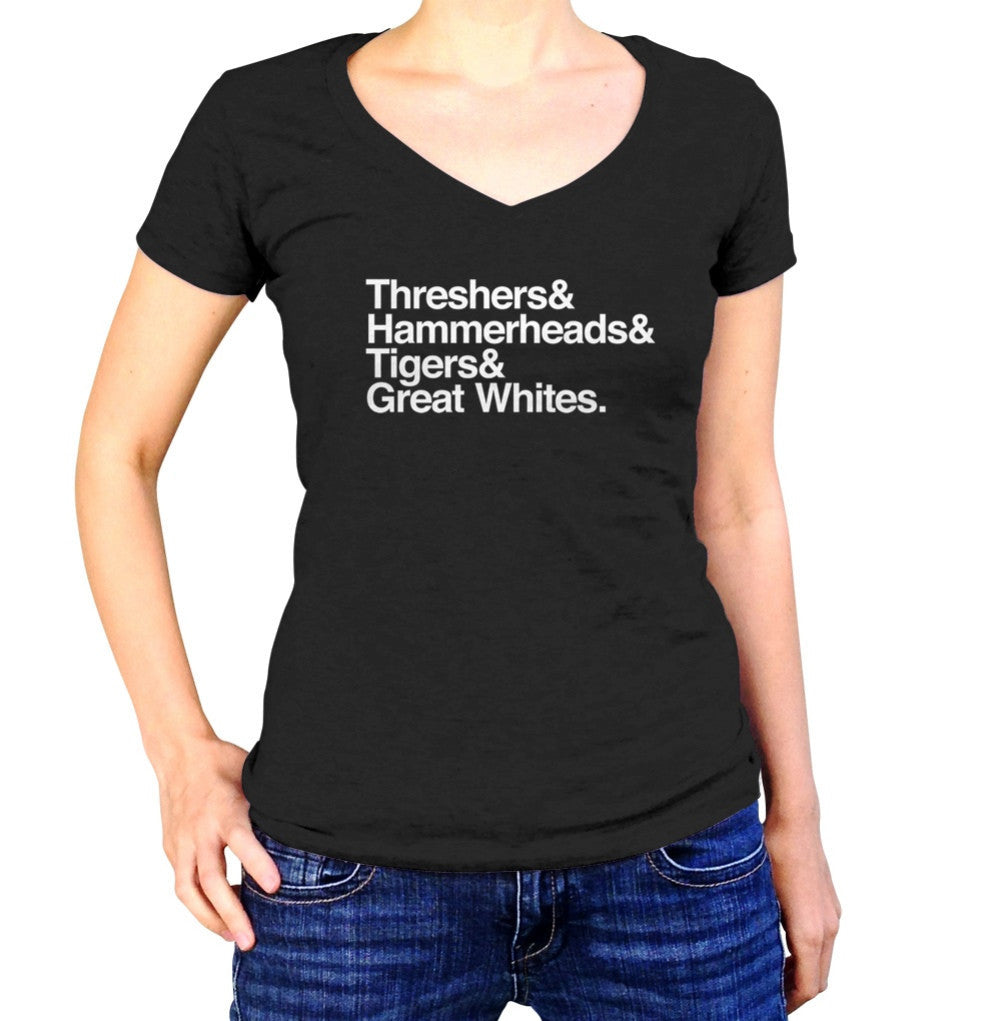 Women's Threshers And Hammerheads And Tigers And Great Whites Shark Vneck T-Shirt