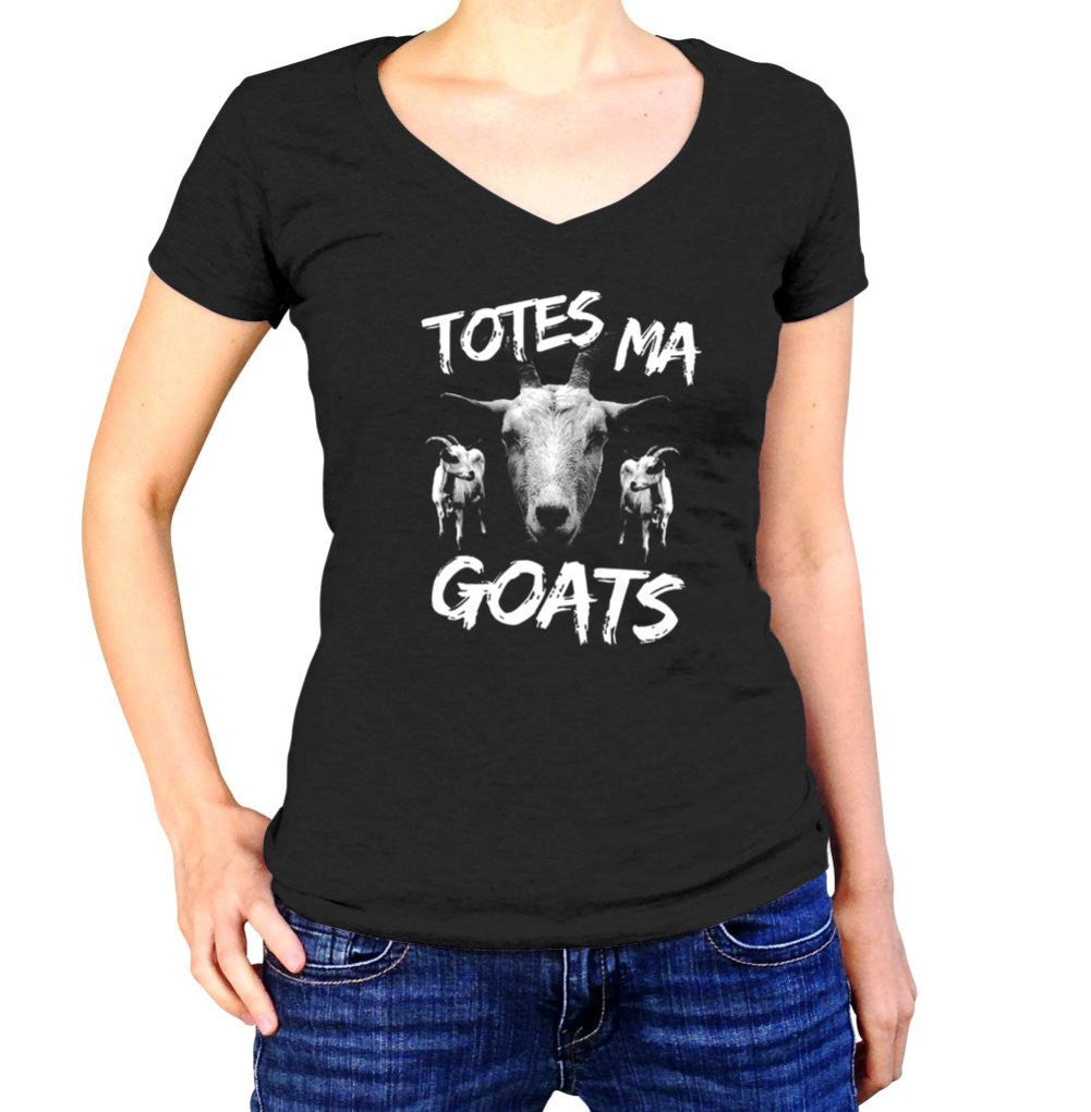 Women's Totes Ma Goats Vneck Funny Goat T-Shirt
