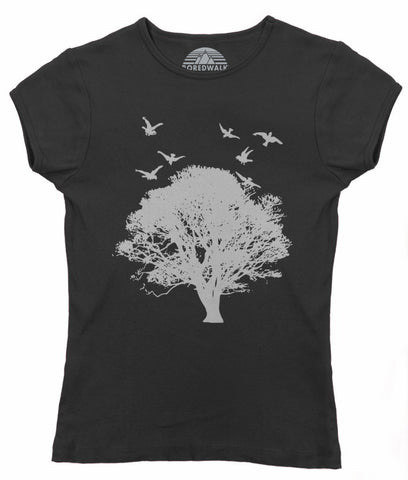 Women's Tree And Birds T-Shirt - Juniors Fit