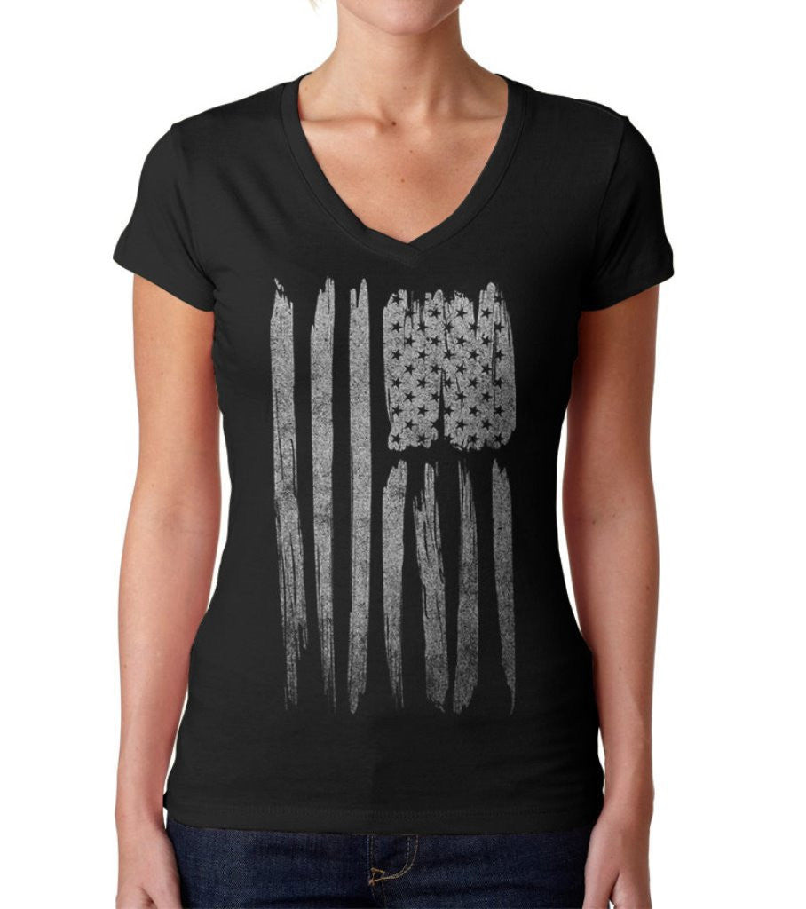 Women's Us Flag Vneck T-Shirt