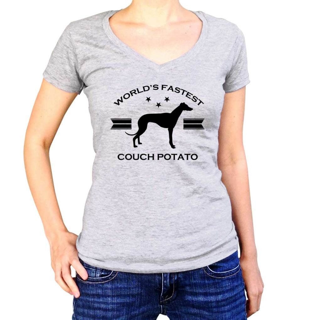 Women's World's Fastest Couch Potato Greyhound Vneck T-Shirt