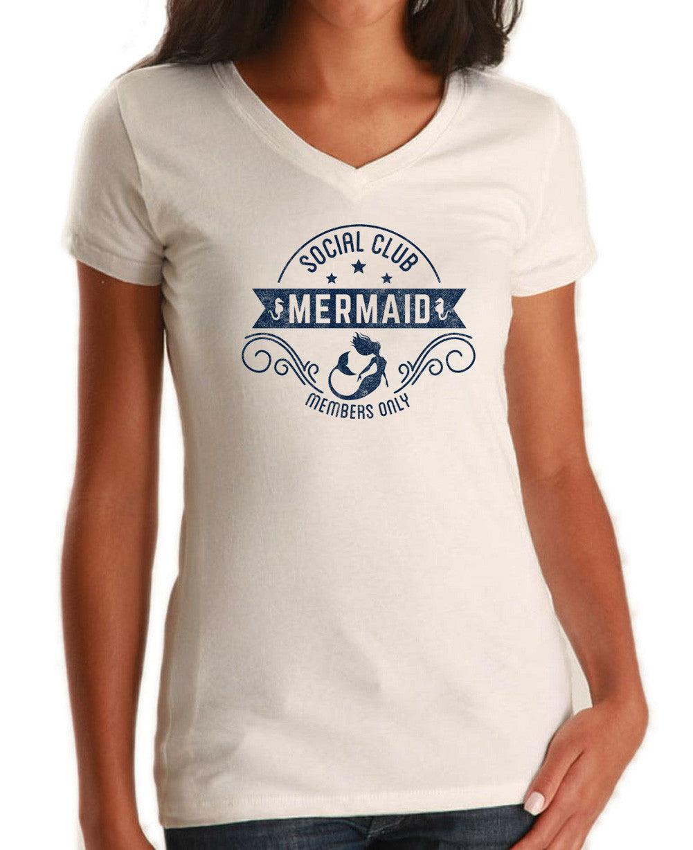 Women's Mermaid Social Club Vneck T-Shirt