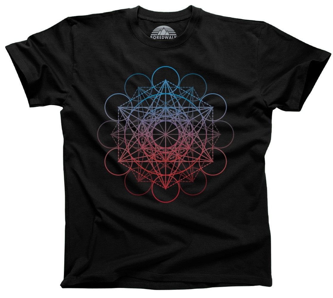 Men's Metatrons Cube Rainbow T-Shirt Geometric Crystal New Age Yoga