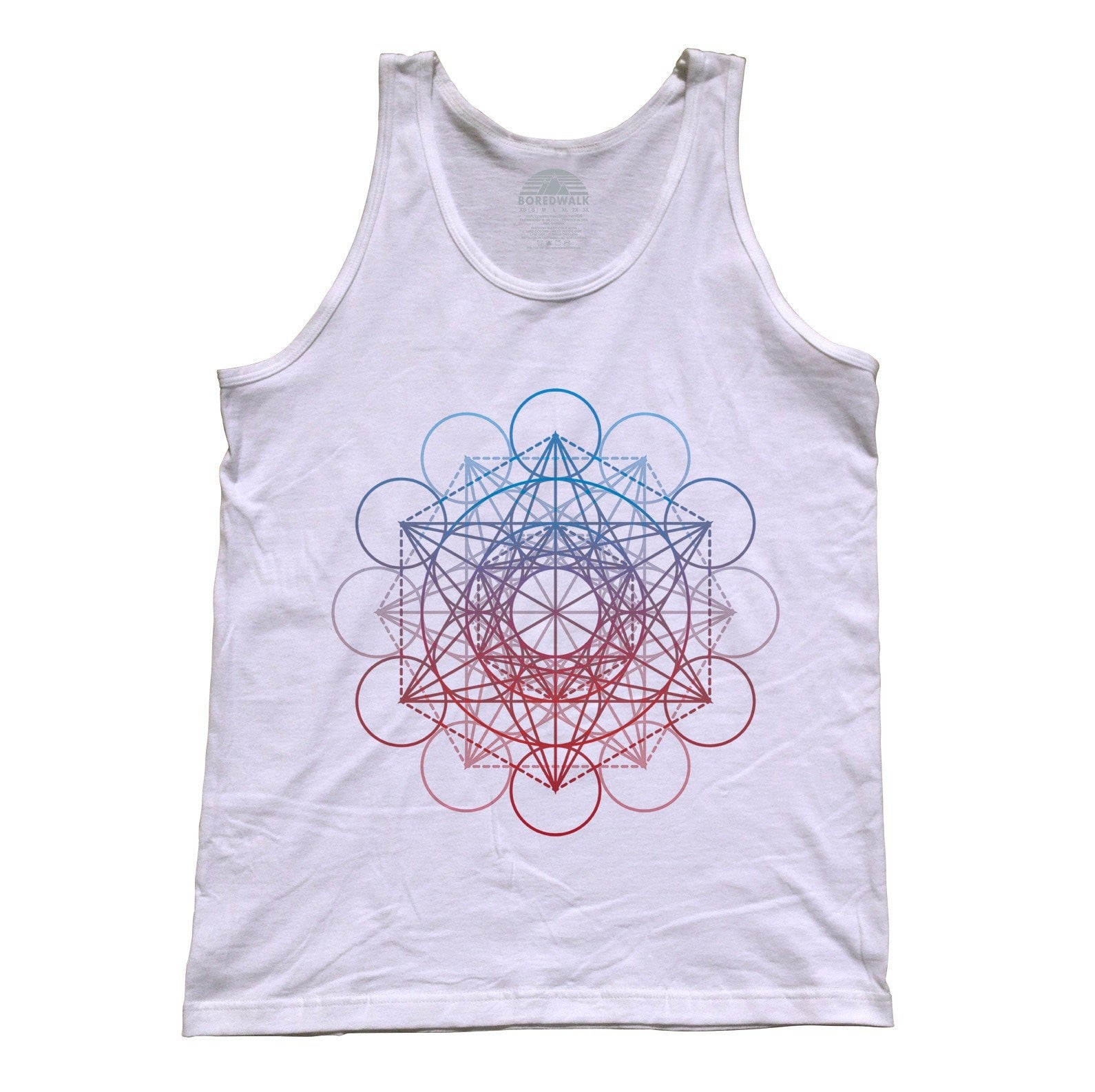 Unisex Metatrons Cube Rainbow Tank Top Geometric Crystal New Age Yoga
