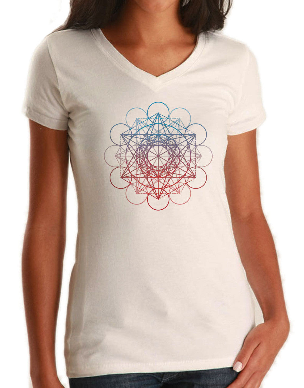 Women's Metatrons Cube Rainbow Vneck T-Shirt Geometric Crystal New Age Yoga
