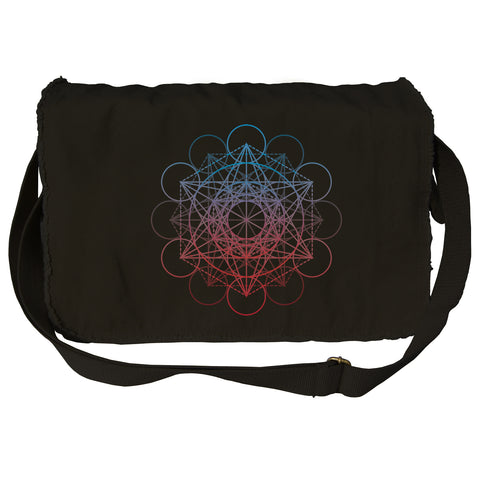 Metatrons Cube Rainbow Messenger Bag