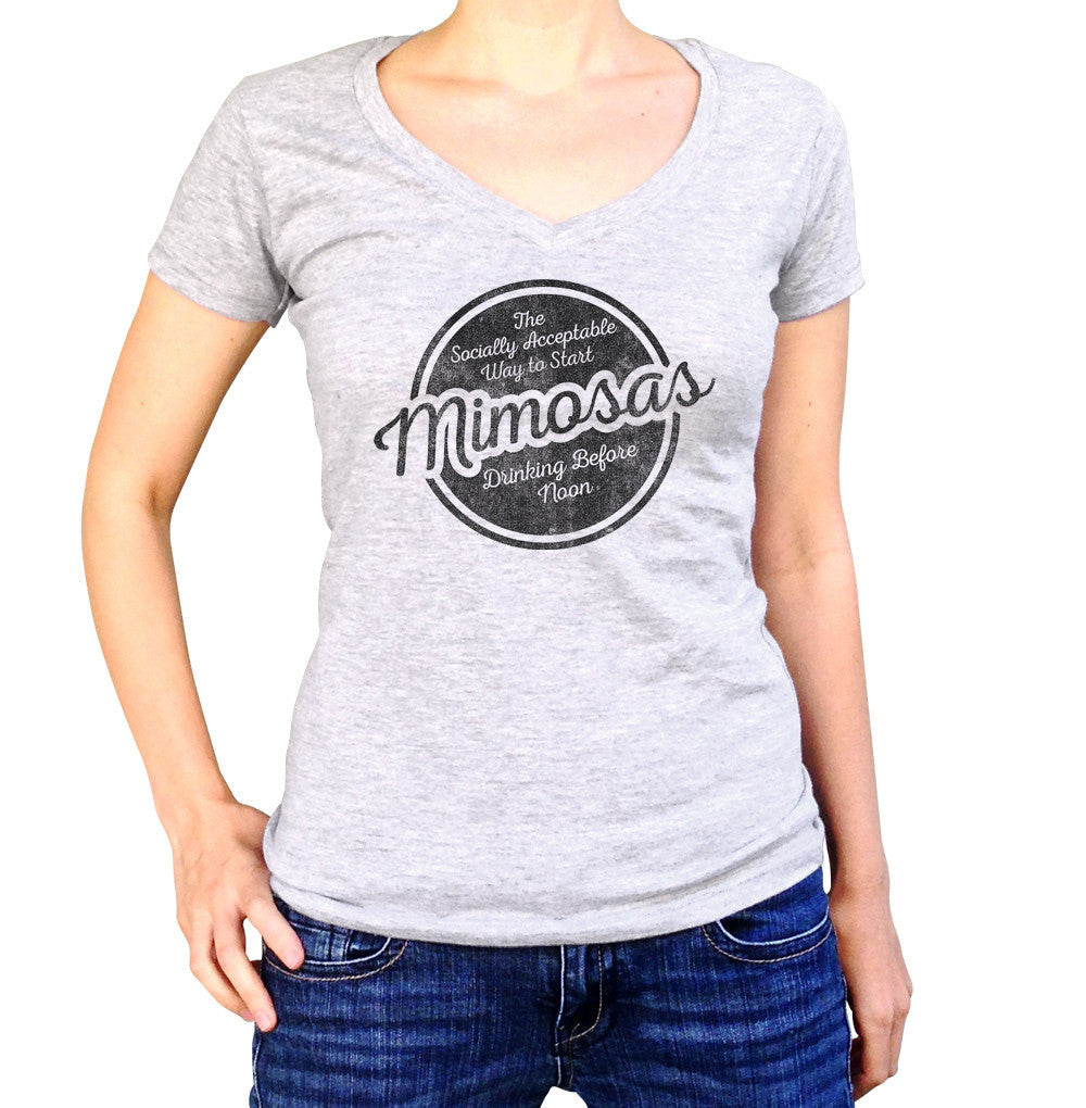 Women's Mimosas Socially Acceptable Drinking Before Noon Vneck T-Shirt
