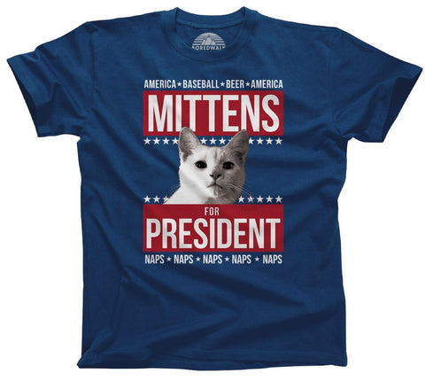 Men's Mittens for President T-Shirt Election Political Funny Cat