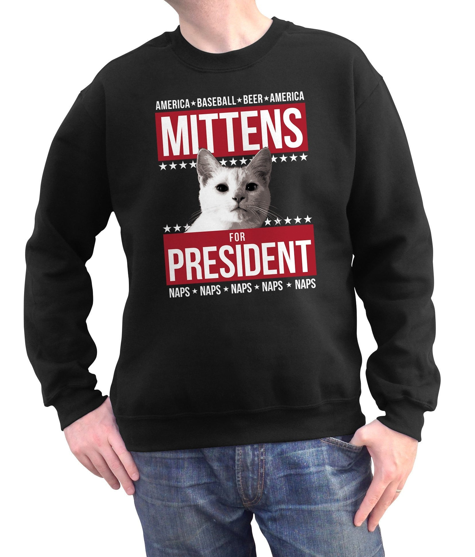 Unisex Mittens for President Sweatshirt - Election Political Funny Cat