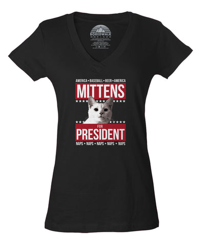 Women's Mittens for President Vneck T-Shirt - Juniors Fit - Election Political Funny Cat