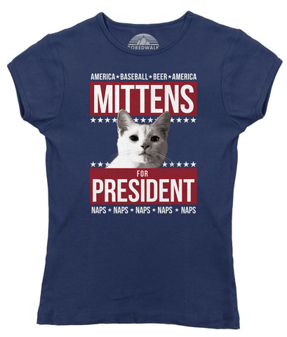 Women's Mittens for President T-Shirt - Juniors Fit - Election Political Funny Cat