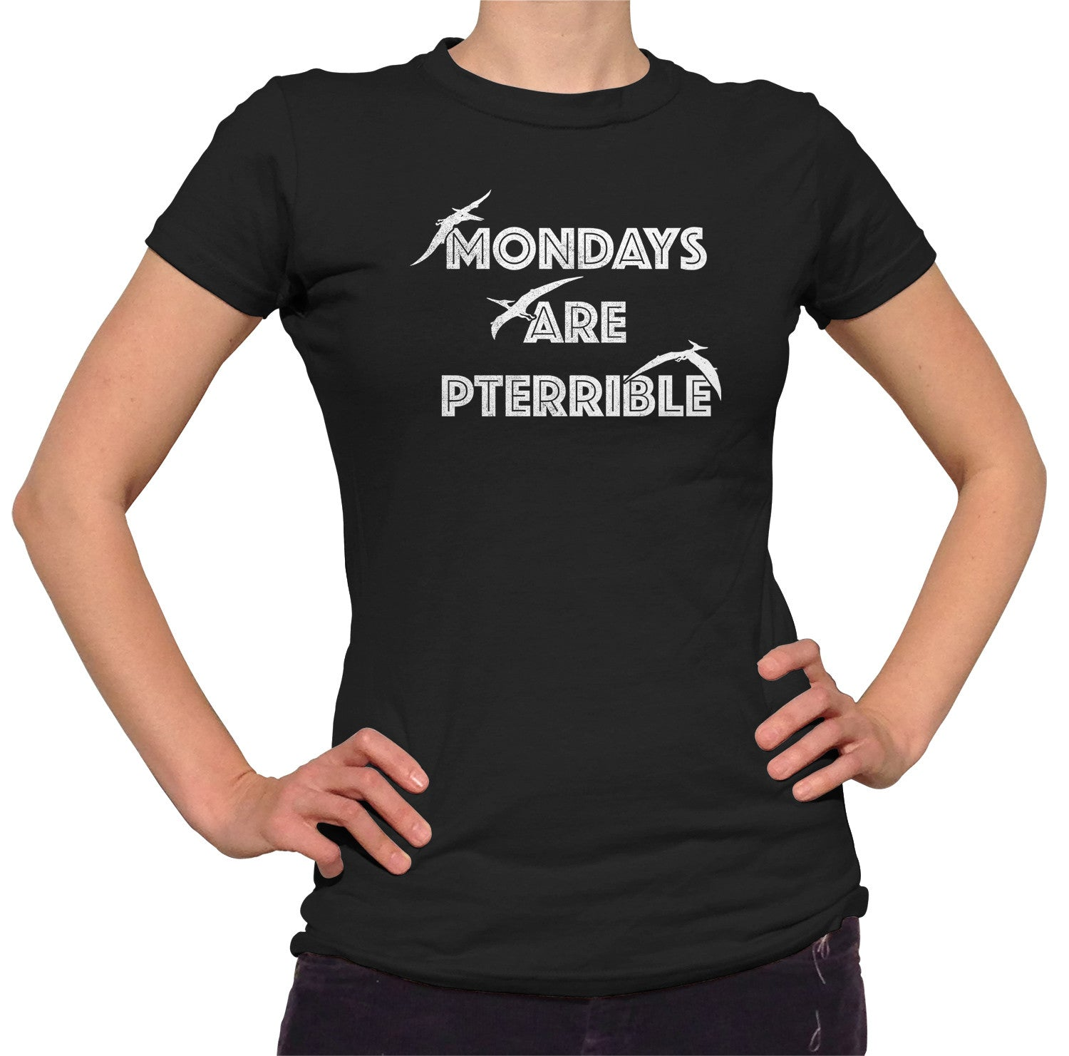 Women's Mondays Are Pterrible T-Shirt - Funny Dinosaur Shirt