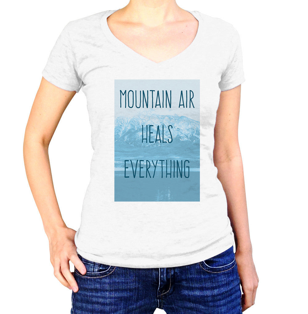 Women's Mountain Air Heals Everything Vneck T-Shirt Camping Hiking
