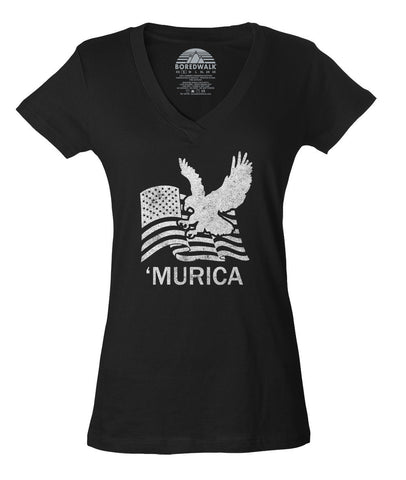 Women's Murica Vneck Eagle With Us Flag T-Shirt - Juniors Fit