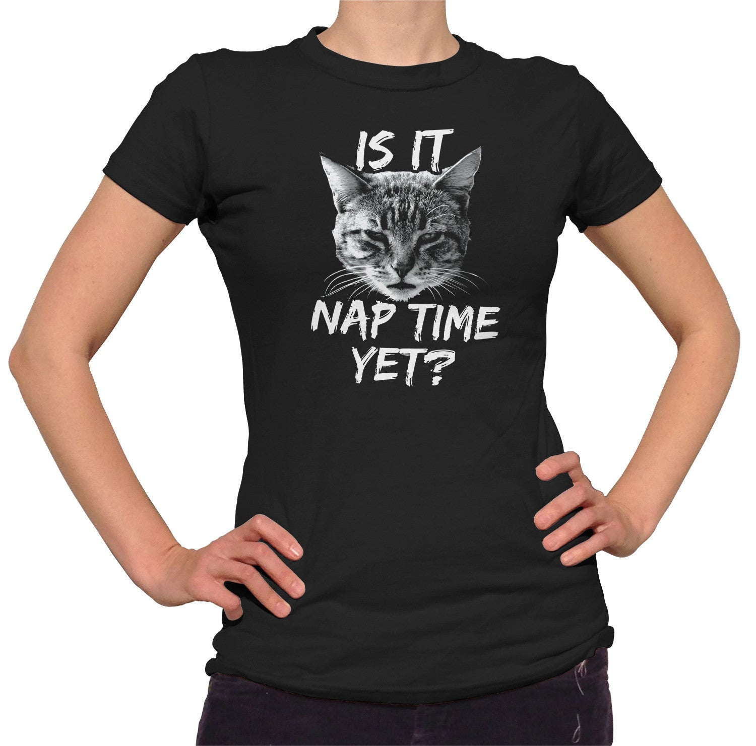 Women's Is It Nap Time Yet T-Shirt - Juniors Fit Funny Cat TShirt