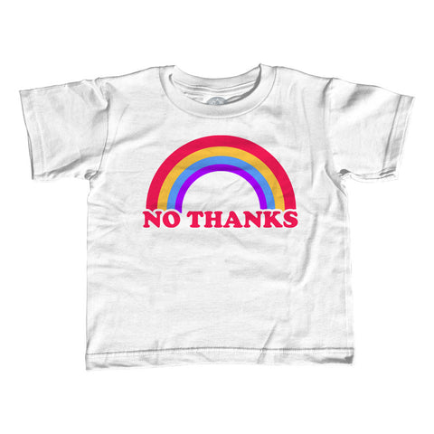 Girl's Rainbow No Thanks T-Shirt - Unisex Fit - No Thank You Sarcastic Shirt Ironic Shirt - Nope Shirt - Introvert