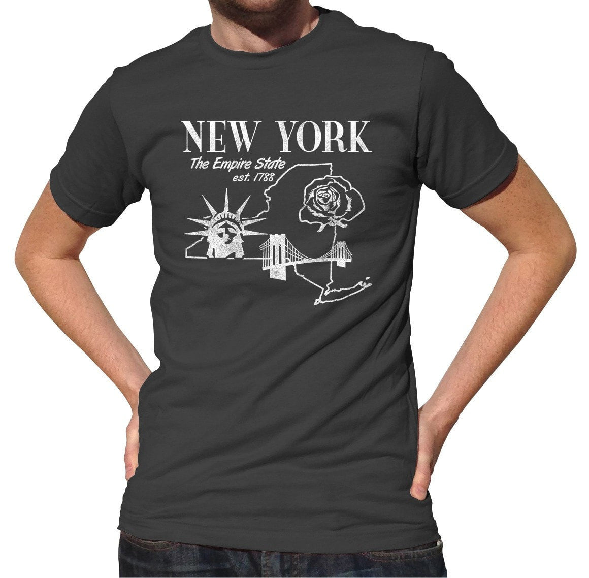 Men's Retro New York T-Shirt Vintage State Pride
