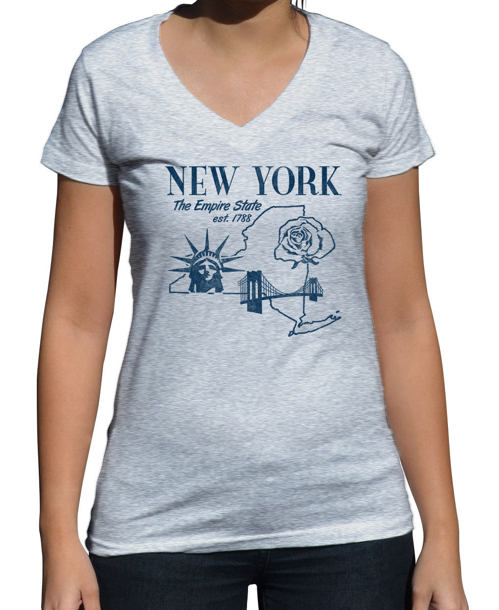 Women's Retro New York Vneck T-Shirt Vintage State Pride