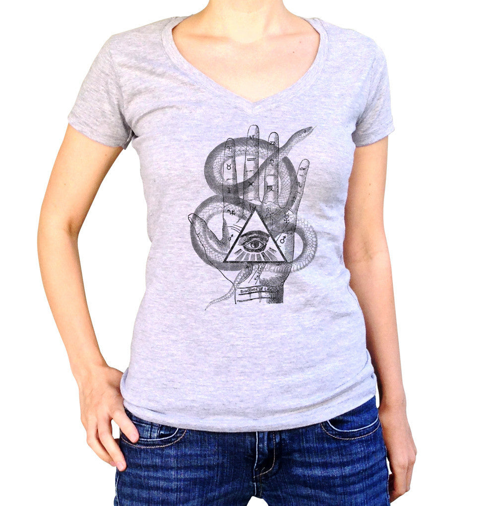 Women's Palmistry Gypsy Collage Vneck T-Shirt