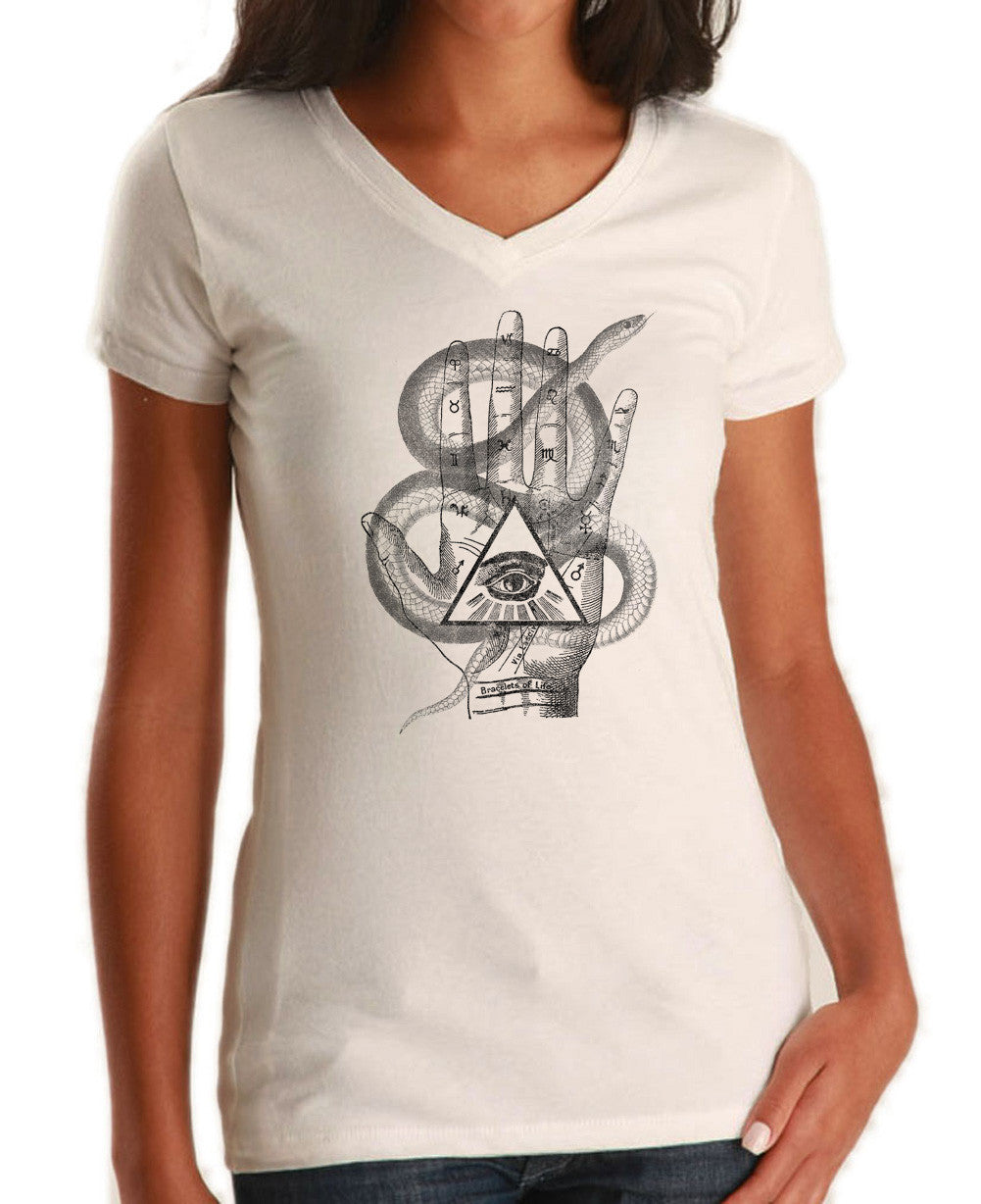 Women's Palmistry Gypsy Collage Vneck T-Shirt - Juniors Fit