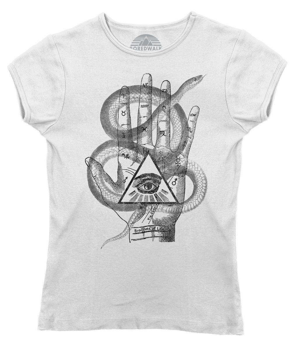 Women's Palmistry Gypsy Collage T-Shirt - Juniors Fit