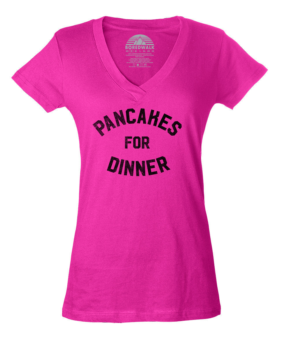 Women's Pancakes for Dinner Vneck T-Shirt - Breakfast Brunch Foodie