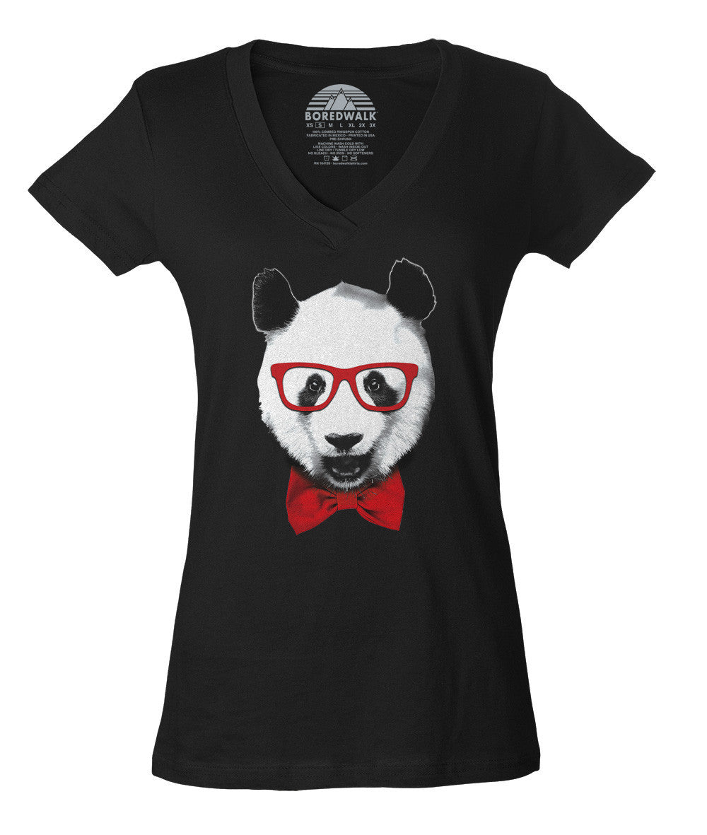Women's Fancy Panda With Glasses Vneck T-Shirt