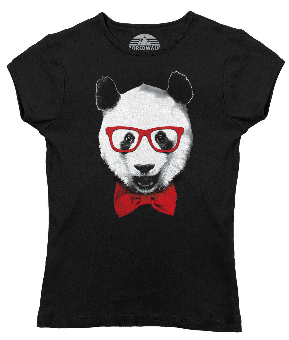 Women's Fancy Panda With Glasses T-Shirt - Juniors Fit