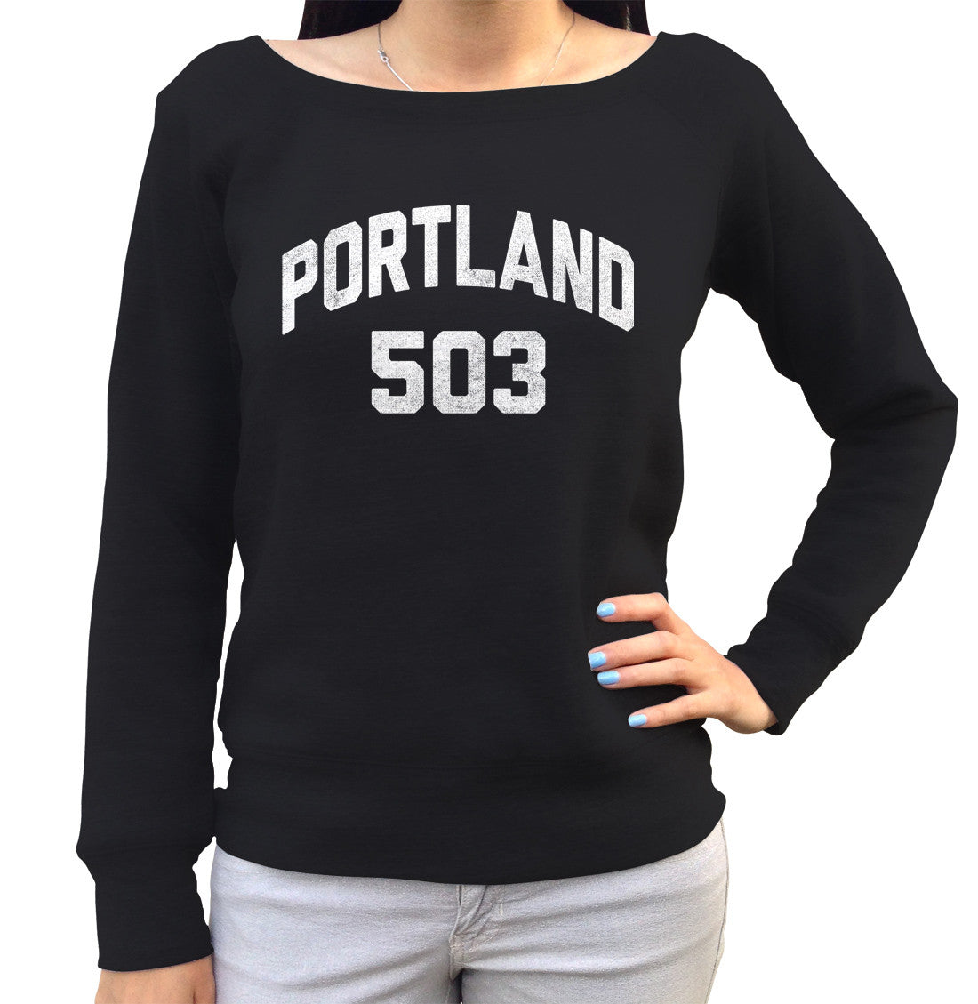 Women's Portland 503 Area Code Scoop Neck Fleece